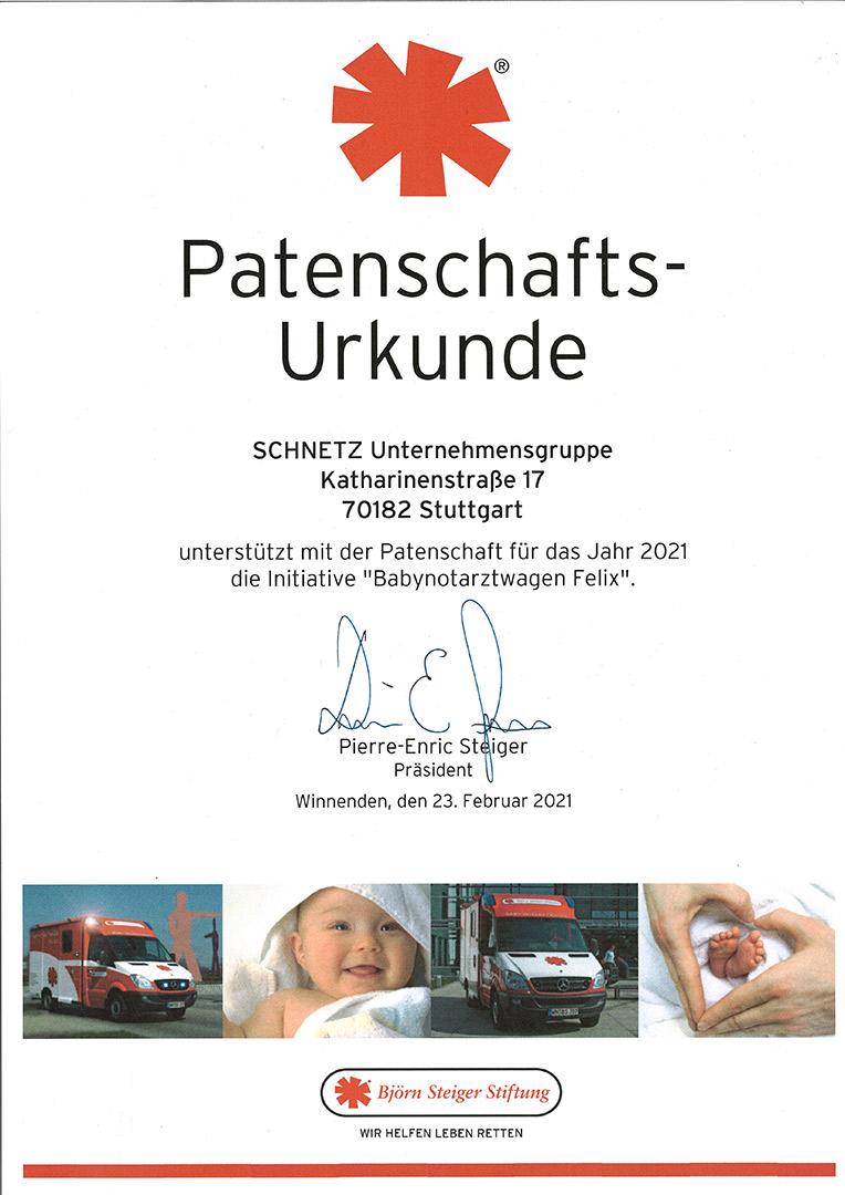 SCHNETZ Unternehmensgruppe - Patenschaft Björn Steiger Stiftung 2021